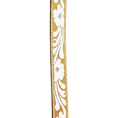 "Womens 1-1/2"" Genuine Premium Leather Tan Belt w. White Floral Finish & Chrome Buckle - USA Made - RGB-4270 - R.G. BULLCO"