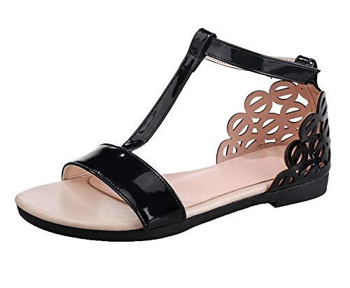 Agoolar Toe Women sandali velcro Heel in Mini Open nero Solidi Pu aUq4a
