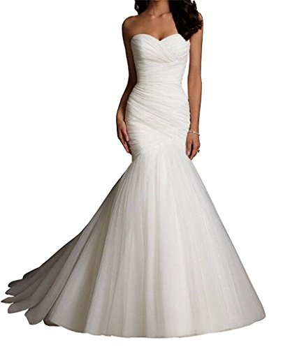 CharmingBridal Mermaid Strapless Pleat Wedding Dress Bridal Gowns WD001