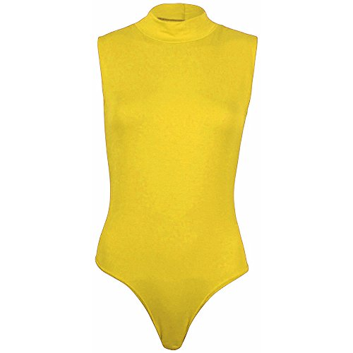 COMMENCER Women's Basic Solid Polo Turtle Neck Sleeveless Bodycon Leotard Bodysuit Lingerie Fashion Stretchable One Piece Yellow -