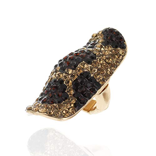 (SP Sophia Collection Half Finger Long Fully Studded Adjustable Rhinestone Ring in Cheetah Print)