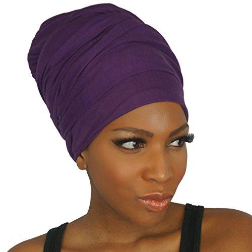 Headwrap in Stretch Jersey Knit - Long Head wrap Scarf - Royal Purple