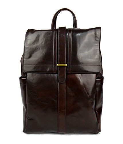 Leather dark brown backpack genuine leather travel bag weekender sports bag gym bag leather shoulder ladies mens satchel light backpack by ItalianHandbags