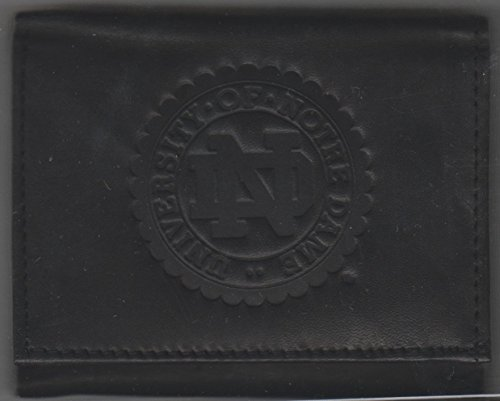 NCAA Officially Licensed Genuine Leather Tri-Fold Wallet -Black (Notre Dame Fighting Irish)