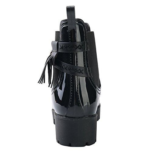Botas 4 Mujer Leroy De Botines Agua Elástico Negro Para Chelsea Hebilla Alexis Con Impermeables Correa XHwx6nE