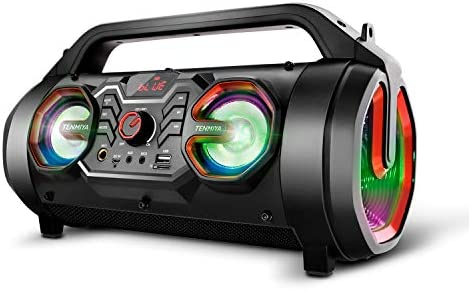 Portable Bluetooth Speakers, 30W Loud Outdoor Speakers with Subwoofer, FM Radio, RGB Colorful Lights, EQ, Stereo Sound, 10H Playtime Boombox Wireless Speaker for Home, Party, Camping, Travel 41rZMp 9D9L