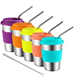 Kids Stainless Steel Cups With Silicone Lids & Straws, Kereda 5 Pack 12