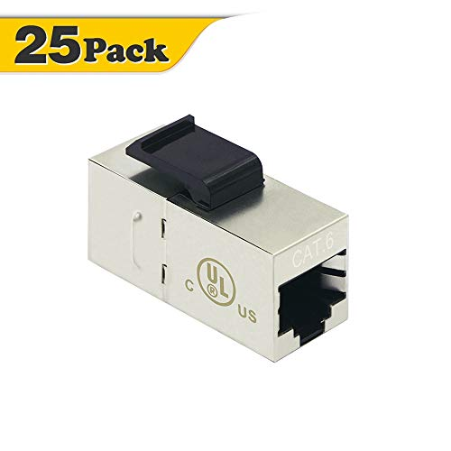 [UL Listed] VCE 25 Pack RJ45 Shielded Cat6 Female to Female Keystone Jack Modular - Jack Keystone Cat6 Modular