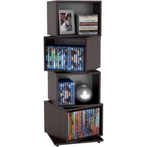 Atlantic Genuine Rotating Cube 4-Tier Espresso Multimedia Storage Tower - Atlantic Media Cube