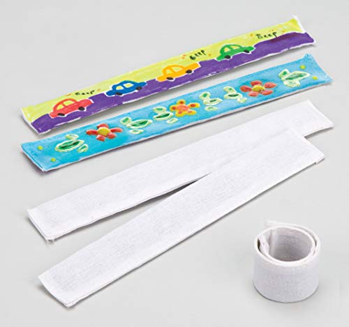 Craft Slap Bracelet - Baker Ross Fabric Snap On Bracelets (Pack of 5) for Kids to Design, Decorate & Personalise