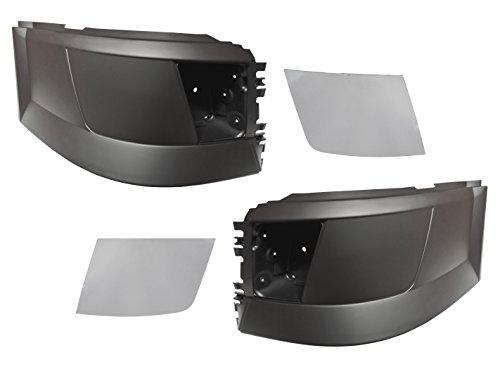 QSC Truck Bumper Corner w/ Foglight Hole L & R + Chrome Trim Set for Volvo VNL