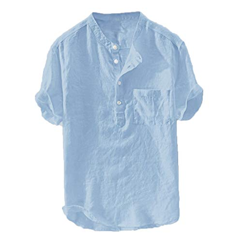 lotteQW Men's Summer New Pure Cotton Hemp Button Short Sleeves Fashion Large Blouse Top Men Shirts Short Sleeve Big and Tall