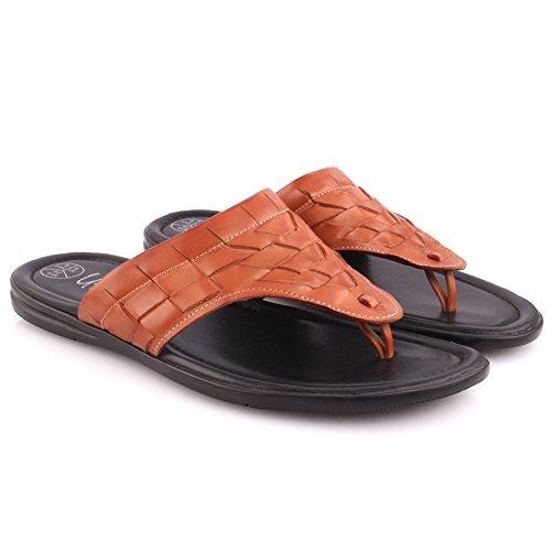 Unze Mens 'Chiga' Deslizamiento en Zapatillas abiertas del verano del festival de la playa de la correa del dedo del pie Reino Unido Tamaño 7-11 Bronceado