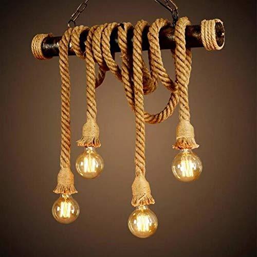 Hanglamp Vintage Touwlamp Hanglamp Plafondlamp Henneptouwlamp Retro Industriële Hanglamp Loft Kroonluchter Rustieke…