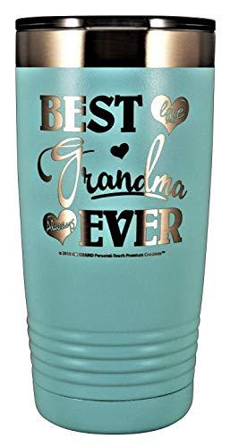GRANDMA GIFT - BEST GRANDMA EVER ~ LOVE YOU ALWAYS Stainless Steel Vacuum Insulated Tumbler Travel Coffee Mug GK Grand Design & Engraved Birthday Mothers Day Christmas (Pastel Teal, 20oz)