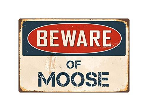 Lilyanaen New Tin Sign Beware of Moose Vintage Aluminum Retro Metal Sign for Outdoor & Indoor -