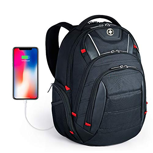 Largest Laptop Backpack - Laptop Backpack,Swissdigital Busniess Backpack with USB Port,RFID Protection and TSA Smart Scan for Travel Fits Under 15.6-Inch Laptop for Man, Black