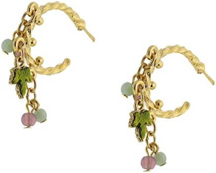 14k Gold Dipped Multi Color Beaded Post Drop Earrings