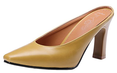 Jaune Femme Mules Carré Slip Easemax Simple Bout Unie on Couleur 1dnBvxzxHW
