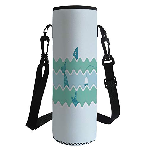 Water Bottle Sleeve Neoprene Bottle Cover,Fishing Decor,Fish Tail and Starfish Swimming in Flat Waves Submarine Comic Illustration,Light Blue,Fit for Most of Water Bottles by iPrint