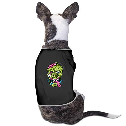 JTMOVING Fashion Unique Custom Pet Costume Detailed Zombie Head Printing Cute Leisure Teddy Puppy Pet Dog Clothes Dog Pet Pajama Dog Shirt for Large Medium Small Dogs Cats ()