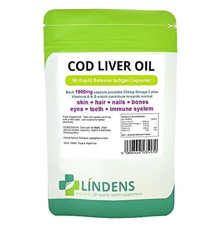 Lindens aceite de hígado de bacalao 1000mg 3-PACQUETE 270 cápsulas con la vitamina A