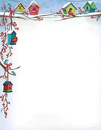 Great Papers! 2014034 Christmas Birdhouse Holiday Letterhead Stationery, Multicolor 80 Pack (Art Letterhead Christmas)