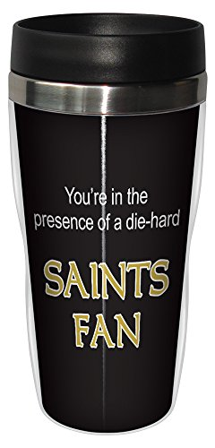 Tree-Free Greetings sg24127 Saints Football Fan Sip 'N Go Stainless Steel Lined Travel Tumbler, 16-Ounce