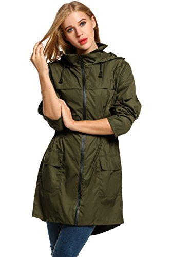 HOTOUCH Mujer Chaqueta Abrigos Impermeables Chubasquero Asimetrica Con Capucha Ideal para deportes al aire libre S-XXL Verde del ejército