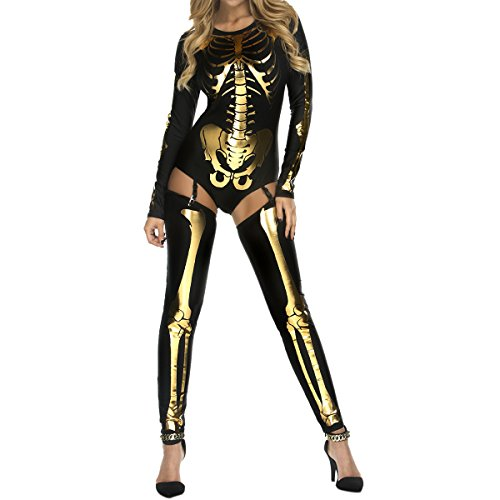 [Quesera Women's Sexy Hollow Catsuit One Piece Metallic Skinny Stretch Net Bodysuit,Gold,free size suits XS-L] (Skeleton Sexy Costumes)