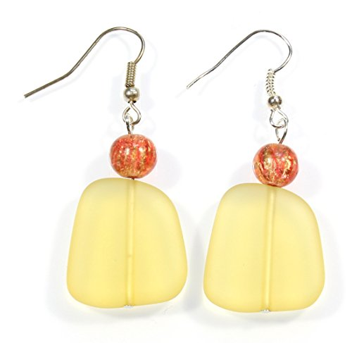 - ARThouse Baked in The Sun, Faux Sea Glass Yellow Earrings, 2 Inches