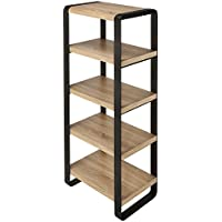 Homegear Furniture 5-Tier Freestand Iron Bookcase with 5 Oak-Finished Shelves