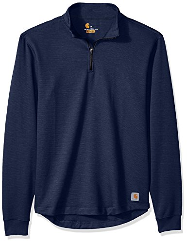 Carhartt Men's Tilden Long Sleeve Mock-Neck Quarter-Zip, Dark Cobalt Blue, X-Large (Zip Quarter Shirt)