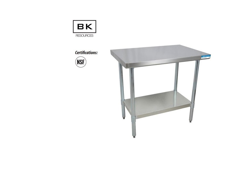 BK Resources T-430 Stainless Steel Flat Top Work Table w/Galvanized leg & Undershelf NSF Approval VTT-1830-09