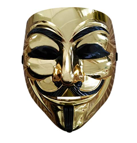 Halloween Anonymous Costume Cosplay Guy Fawkes V for Vendetta Mask (Gold Without Eyes)