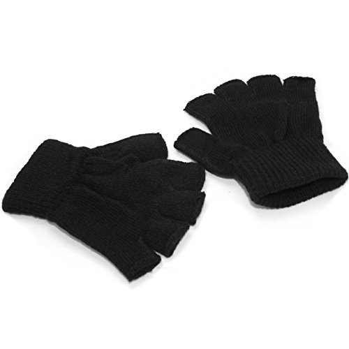 Refaxi Men Black Knitted Stretch Elastic Warm Half Finger Fingerless Gloves for Winter by ReFaXi (Image #2)