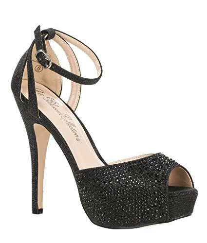 (Blossom Womens Vice-126 Bridal Formal Evening Party Ankle Strap High Heel Peep Toe Glitter Sandal,Black,6 )