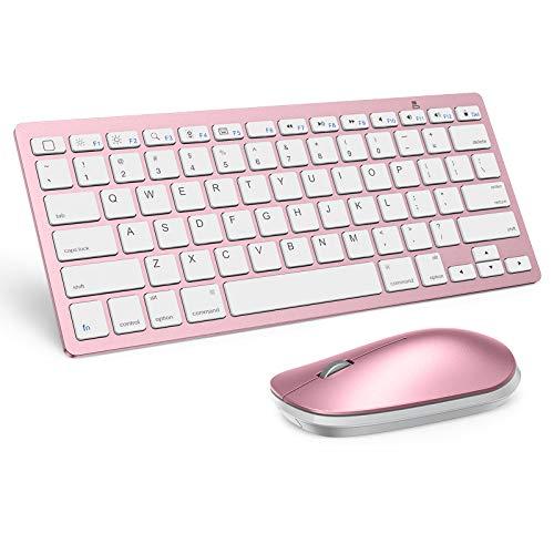 teclado y mouse bluetooth para ipad pro mini rosa