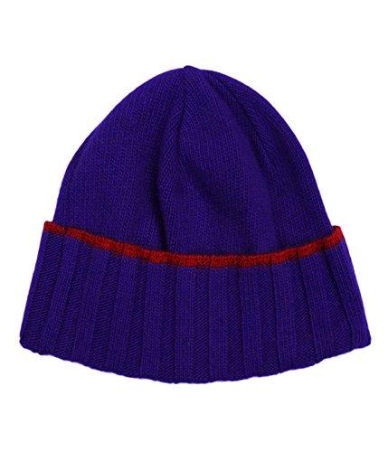 Versace VHB0281 0001 Blue Knitted Beanie Cashmere Blend Hat
