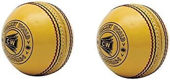 CW Pack de 2 interior amarillo pelota de críquet (piel