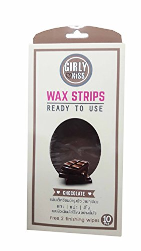 Price comparison product image Chocolate Girly Kiss Wax Strips, say goodbye to stubble and hello softness. Ready to use just rub, peel and go. (10 Pcs./ pack. and free 2 finishing wipes.)..