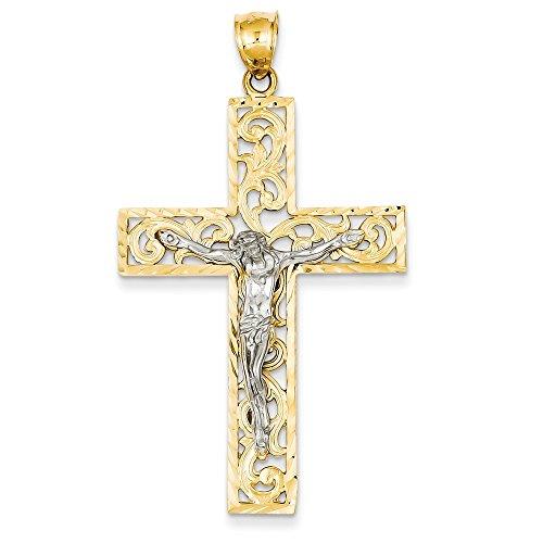 Best Designer Jewelry 14k Two-tone Diamond-cut Crucifix Pendant