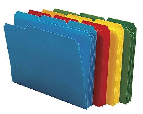 Smead Poly File Folder, 1/3-Cut- Tab Letter Size, Assorted Colors, 24 per Box (10500) (Tab Letter Assorted Four)