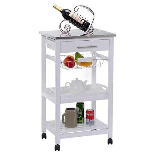 - CHEFJOY Rolling Kitchen Trolley Cart Stainless Steel Top Removable Tray W/Storage Basket & Drawer Kitchen Utility Island Cart with Wheels Bottom Shelf, White