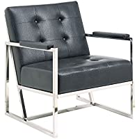 Furniture of America Bowler Modern Crocodile Leatherette Arm Chair, 29.75 by 33.5 by 33, Black