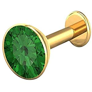 monde éblouissant 14K Yellow Gold and Diamond Goldie Nose Pin Round Studs Fitting for Women/Girls – Green Stone
