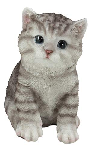Ebros Lifelike Sitting Grey Tabby Cat Statue 6.75