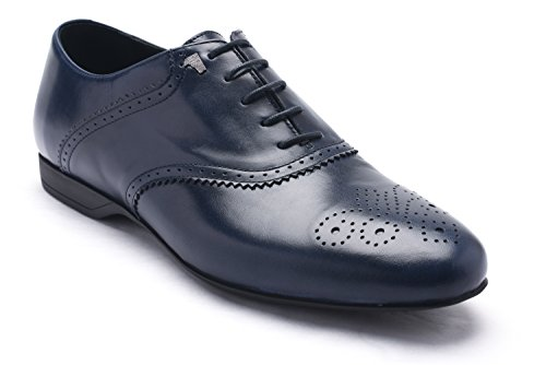 Oxford Leather Shop - Versace Collection Men's Leather Oxford Lace-up Dress Shoes Dark Blue Navy