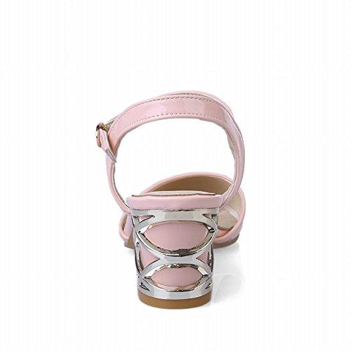Carolbar Womens Buckle Patent Leather Charm Dress Bridal Chunky Mid Heel Sandals Pink yrynWZPl