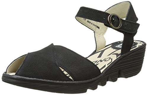 FLYA4|#Fly London Pero706fly, Heels Sandals para Mujer Negro (Black/Black 001)